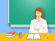 School teacher woman at the desk flat education illustration Stock Photography