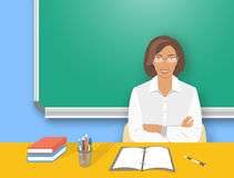 School teacher woman at the desk flat education illustration Royalty Free Stock Images