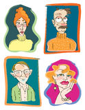 School Teachers No 1. Four funny character studies of stereotypical teacher types...caricatures for back to school themes Stock Photos