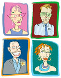 School Teachers No 2. Four funny character studies of stereotypical teacher types...caricatures for back to school themes Royalty Free Stock Photos
