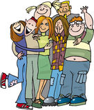 School teens group huging