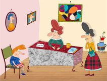 School telling-off. Colorful graphic illustration for children Stock Images