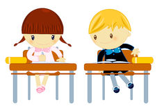 School test. Illustration about a schoolboy copying from his schoolgirl mate test on white background Stock Photo
