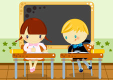 School test. Illustration about a little boy copying test from his school girl friend Royalty Free Stock Photography