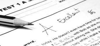 School test. Pencil and school test in black and white, Education concept Stock Images