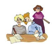 School test crib. Humor illustration of school pupil cribing on classtest Stock Images