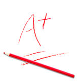 School test score A+. Got the best score an A+ for the school test Royalty Free Stock Photo