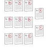 School tests. Icon set showing school tests with different grades, from A+ to F Royalty Free Stock Photography