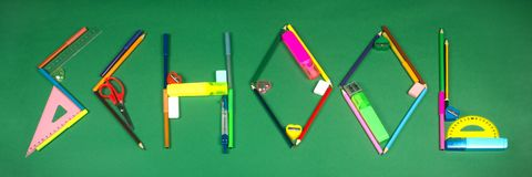 School from school supplies royalty free stock images