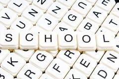 School text word crossword. Alphabet letter blocks game texture background. Royalty Free Stock Photo