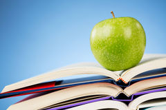 School - Textbooks and an Apple Stock Photo