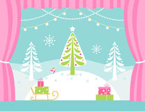 School or Theatre Stage Decorations for Christmas or New Year Play. Snowy Winter Wonderland and Lights Garlands. Royalty Free Stock Photo