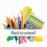 School Theme Background with Different Tools. Stock Photography