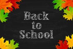 School theme with black chalkboard and maple leaves Royalty Free Stock Photography