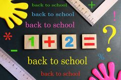 School theme, blackboard with school example, the beginning of training, back to school, stock images