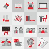 School theme icon set. Icons of school theme with grey and red color vector Stock Illustration