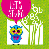 School theme illustration. Lets study - cute vector background with tree and owl Stock Photography