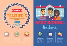 School Theme Set of Posters Vector Illustration Royalty Free Stock Photography