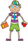 School Time. Represent a boy holding a book & an apple, he is ready to go to School. Available in vector eps 8 file Stock Image