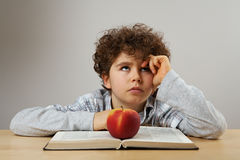 School time. Young boy learning at home Stock Photography