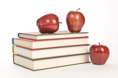 School Time Books and Apples Stock Photo