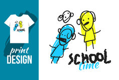 School time hand drawn illustration with text and funny kids. Ve Stock Photo