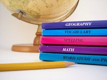 School Time Horizontal. School books, globe, pencil royalty free stock photography
