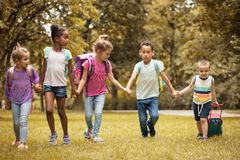 School time. Large group of children. Large group of children walking trough nature royalty free stock image
