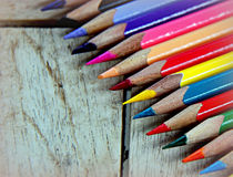 School time. New colored pencils,in vibrant colors Stock Image