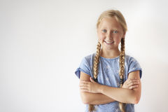 School time. Portrait of cheerful blonde hair girl Stock Photo
