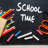 School time. School tools around. Blackboard background Royalty Free Stock Image