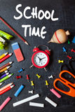 School time. School tools around. Blackboard background Royalty Free Stock Image