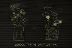 School backpack with educationa objects and holiday luggage with. School time vs vacation time: backpack with educationa objects flying out and luggage with fun Royalty Free Stock Images