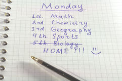 School timetable Stock Image