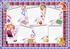 School timetable. The colourful form of the schedule of lessons for schoolgirls. The menu is decorated with school tools and objects. Page of print for the Stock Images
