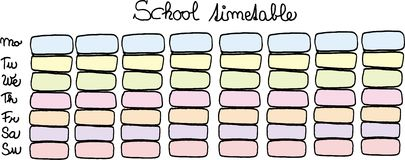 School timetable Royalty Free Stock Photos