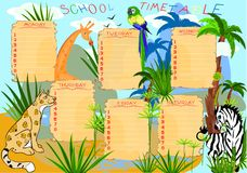 School timetable with animals Stock Photo