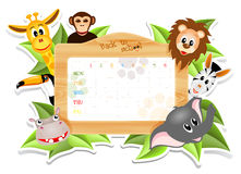 School timetable with animals Royalty Free Stock Photography