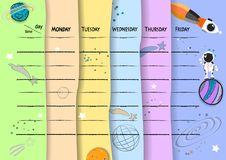 School timetable background with hand drawn space elements. vector illustration