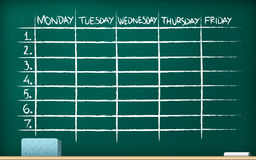 School timetable on blackboard Royalty Free Stock Photography