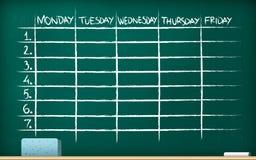 School timetable on blackboard royalty free stock photography