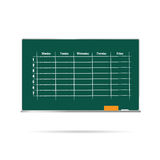 School timetable on blackboard with sponge and chalk illustratio Stock Photos