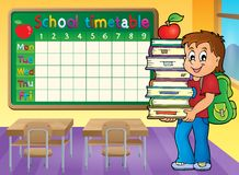 School timetable with boy holding books Royalty Free Stock Image