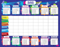 School timetable and calendar 2012. For students notes vector illustration