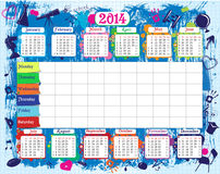 School timetable and calendar. 2014 Stock Image