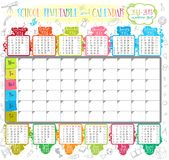 School timetable. 2014-2015 calendar and School timetable for students or pupils Stock Photos
