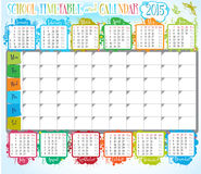 School timetable and calendar Stock Image