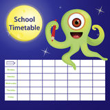 School timetable with cartoon monster Royalty Free Stock Photos