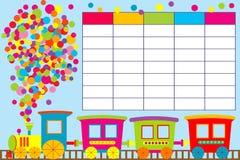 School timetable with cartoon train Stock Photo