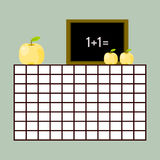 School timetable with chalkboard and apples Stock Image